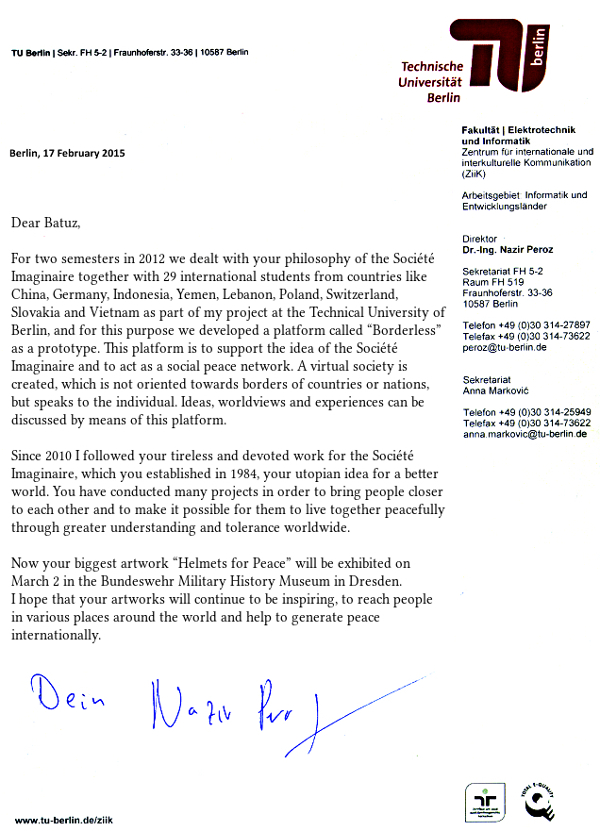 Letter from Dr. Peroz to Batuz