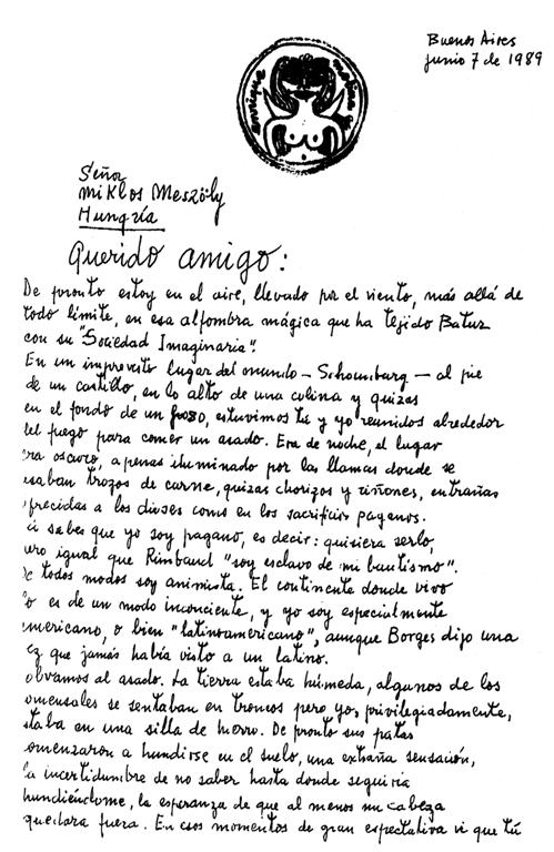 Handwritten letter from Enrique Molina to Miklos Meszöly