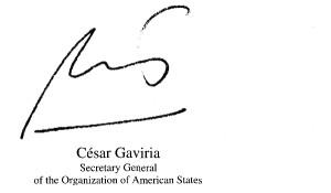 Signature of César Gaviria